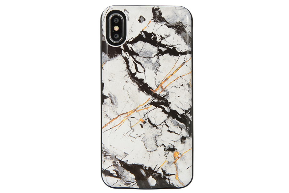 White Cracked Marble Battery Power Phone Case