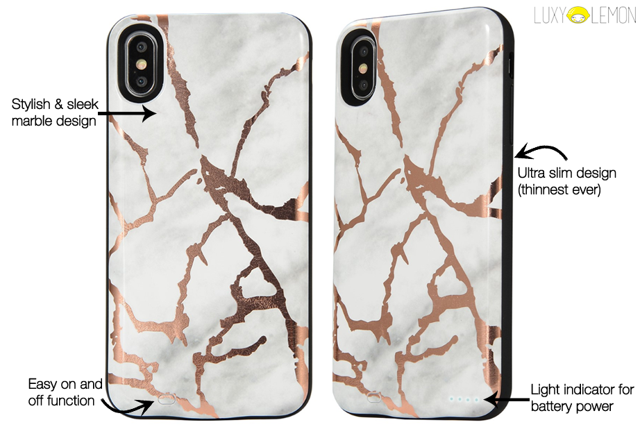 White & Gold Metallic Marble Battery Power Phone Case