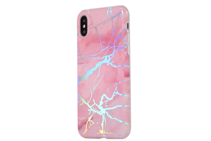 Pink Metallic Holo Marble Phone Case