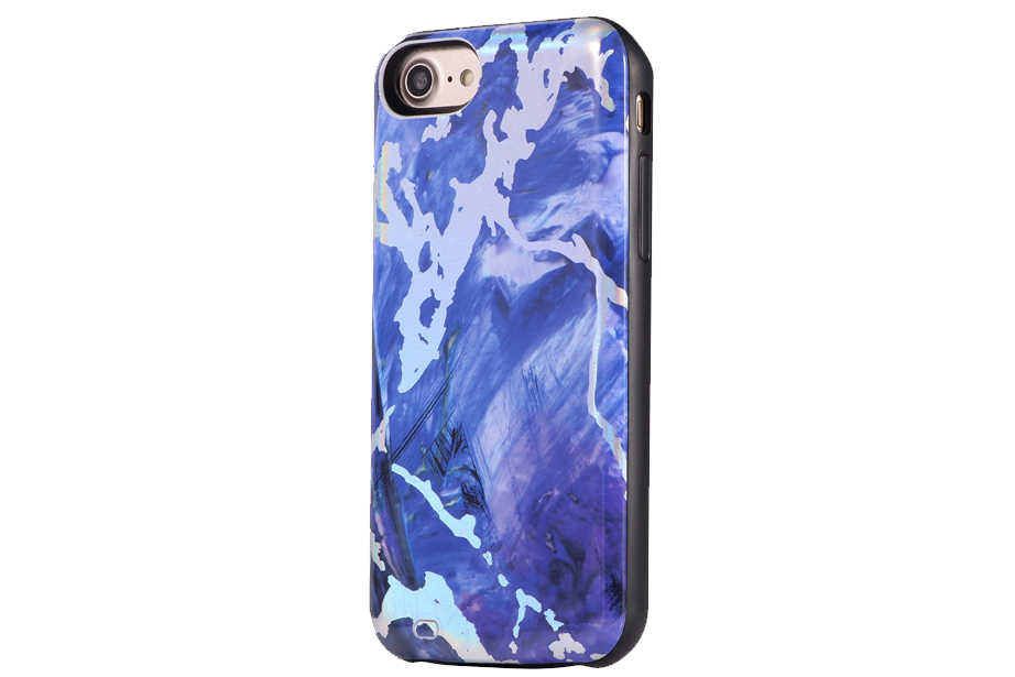 Royal Blue Holo Marble Battery Power Phone Case