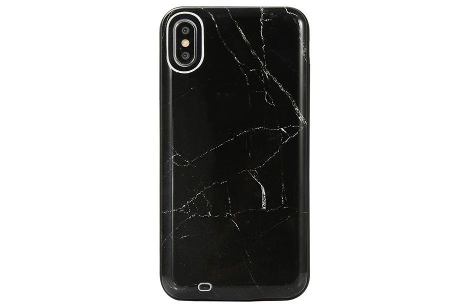 Black Marble Battery Power Phone Case