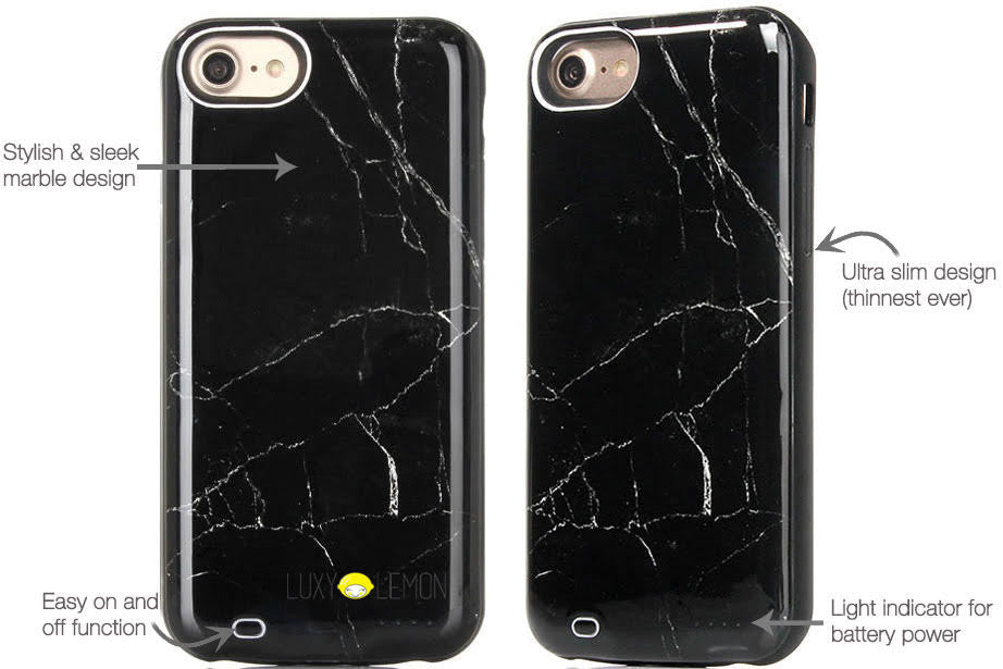 Black Marble Battery Case