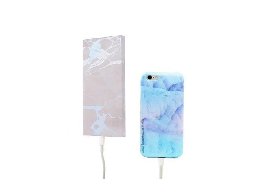 White Holo Marble Power Bank Charger