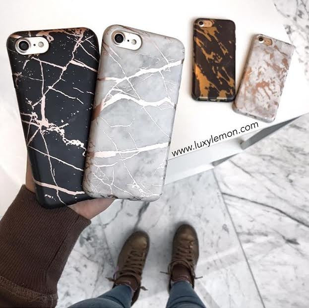 Black & Rose Gold Metallic Marble Case