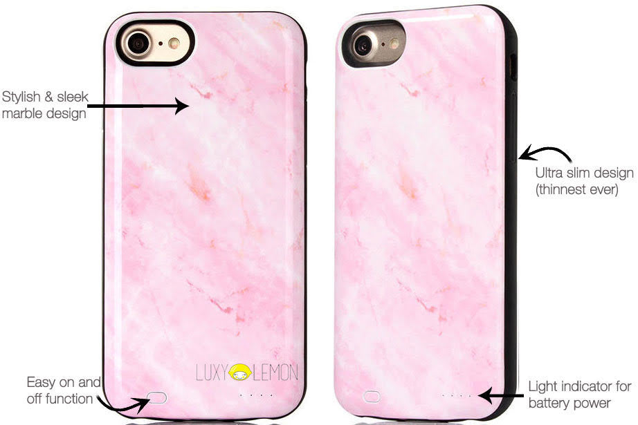 Pink Marble Battery Power Phone Case