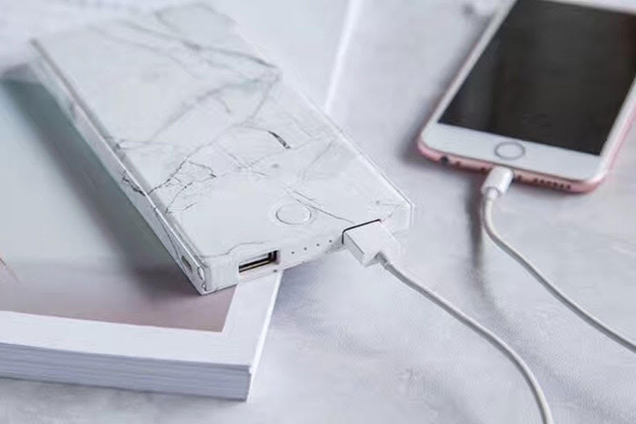White Marble Power Bank Charger Luxylemon