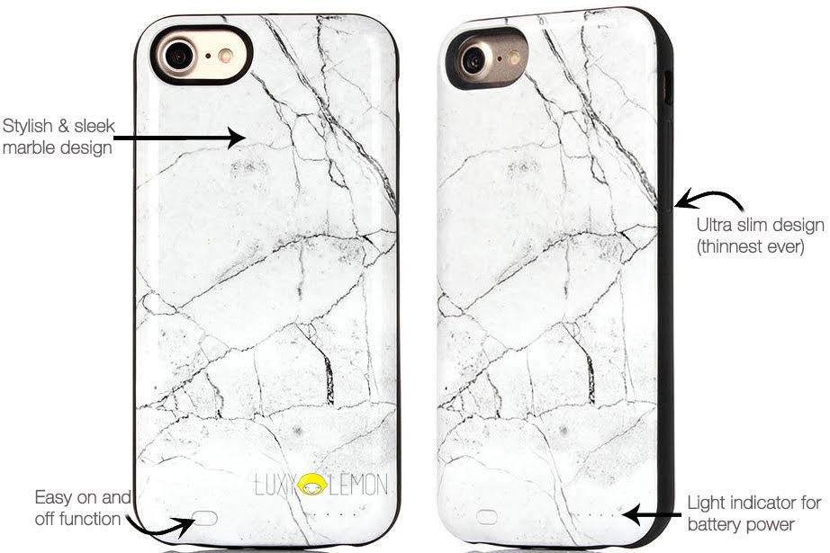 reputable site 5ef14 a24ce White Marble Battery Power Phone Case
