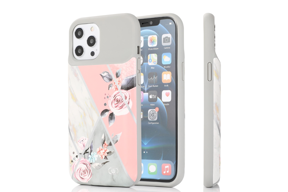 Gray Marble Floral Ultra Battery Case
