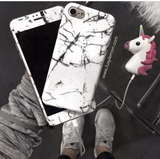 Glass Shield & Phone Case Set - White Cracked Marble