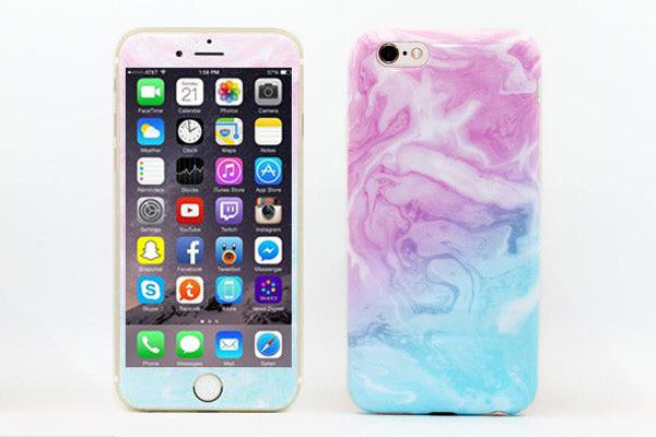 Glass Shield & Phone Case Set - Cotton Candy Marble