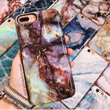 Blue Cracked Marble Battery Power Phone Case