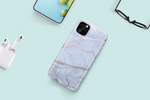 White & Rose Gold Metallic Marble Phone Case