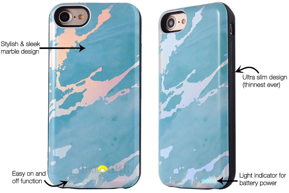 Blue Holo Marble Battery Power Phone Case