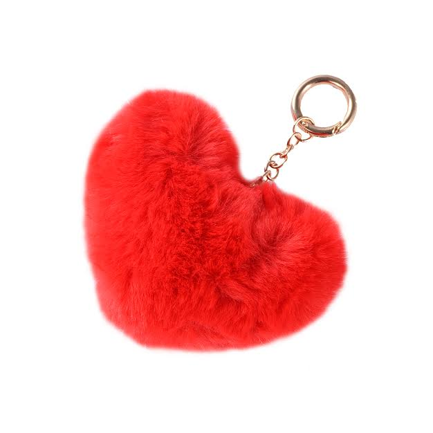 Red Heart Fur Keychain