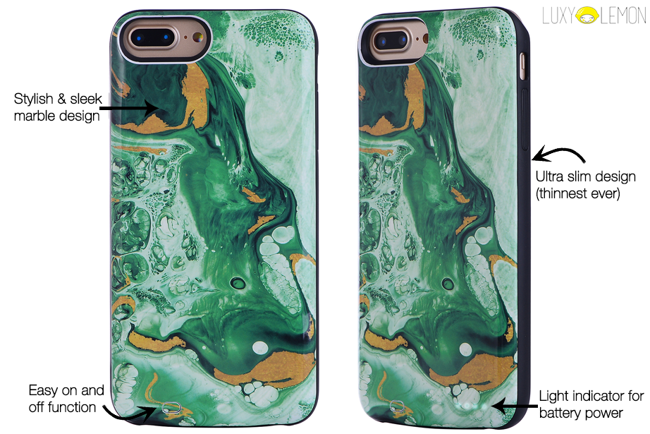 Emerald Green Marble Battery Power Phone Case