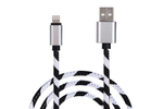 White & Black Striped Charge & Sync Cable