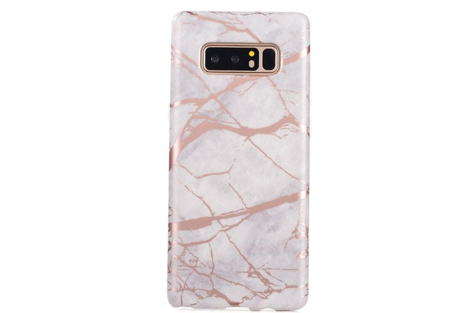 White & Rose Gold Marble Samsung Phone Case