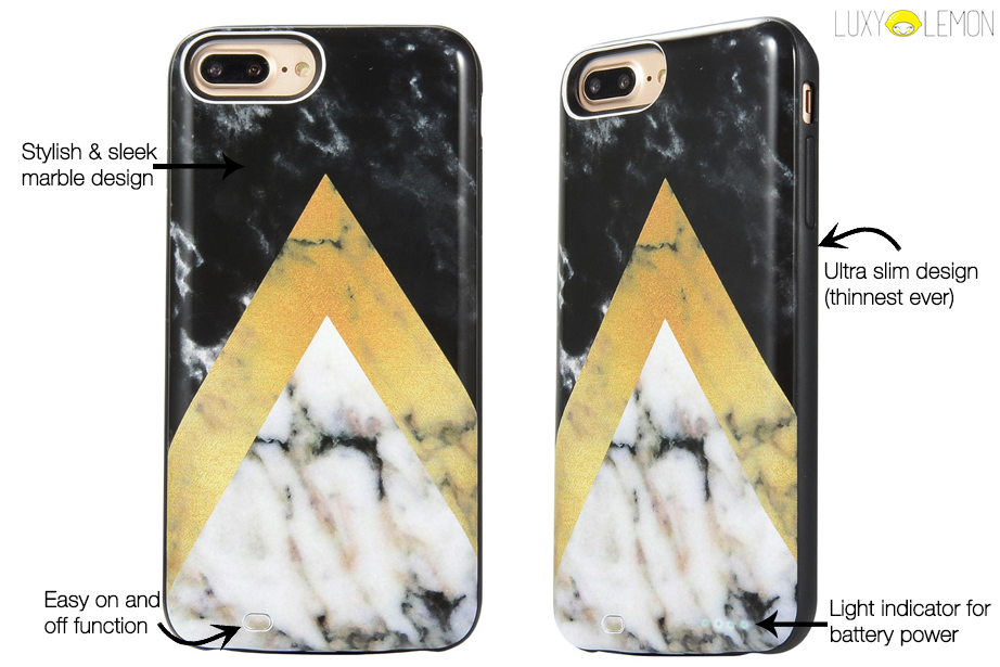Gold Point Marble Battery Power Phone Case