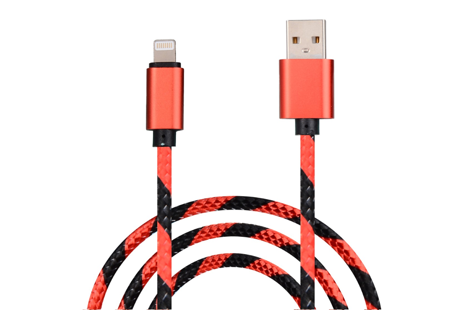 Red & Black Striped Charge & Sync Cable