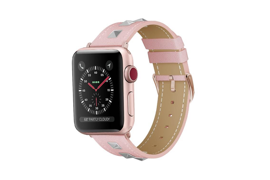 Rose Gold Studs Leather Watch Band