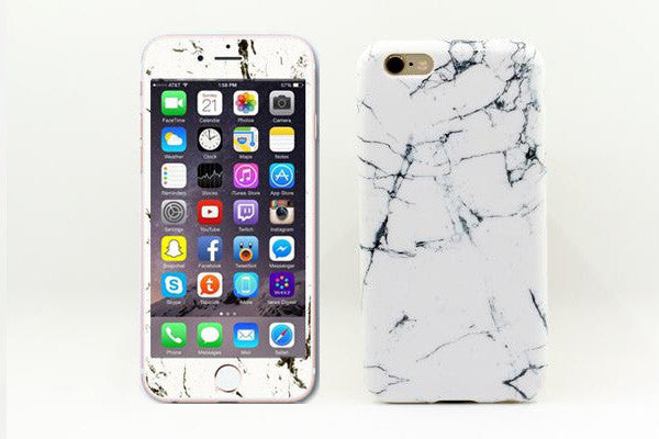half off 99455 90671 Glass Shield & Phone Case Set - White Cracked Marble