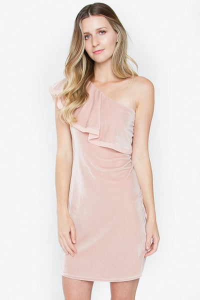 TRISTA VELVET ONE SHOULDER DRESS