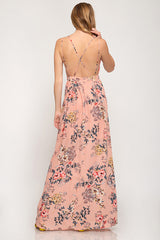 PEACH PRINT STRAPPY MAXI DRESS