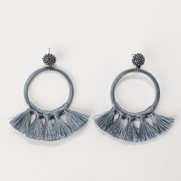 JORDAN WRAPPED HOOP EARRINGS- GREY