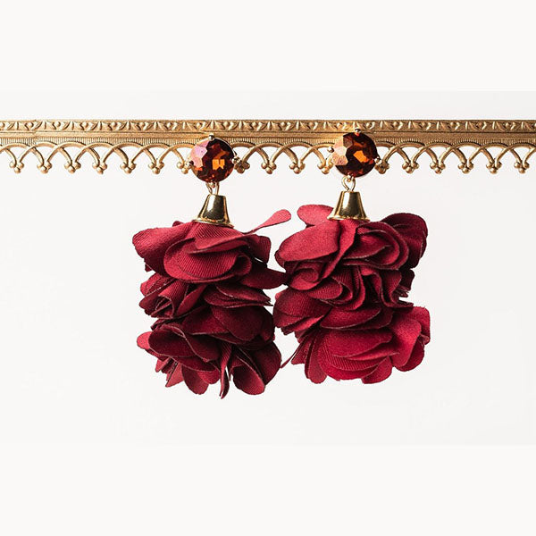 ALMA BLOOM EARRINGS- CRANBERRY