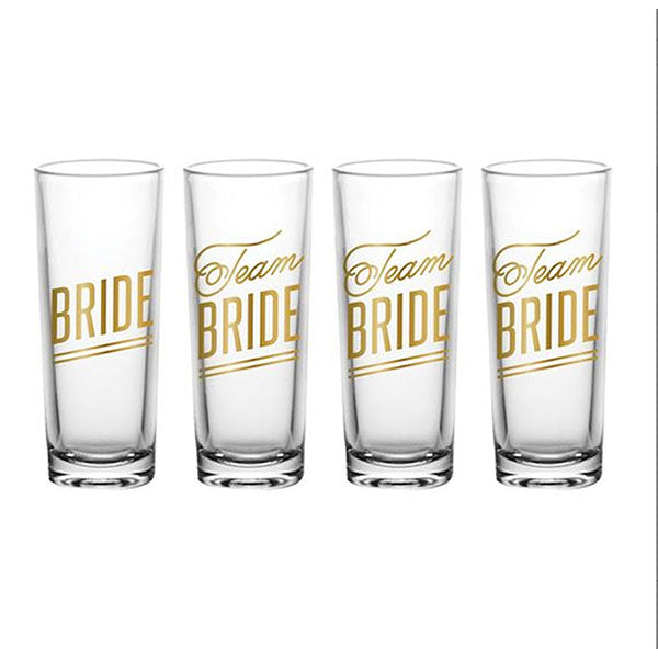 four cold lettered bridal shot glasses