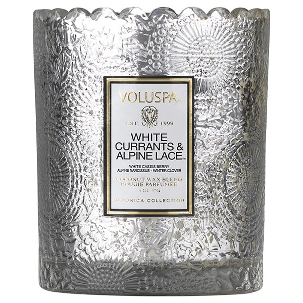SCALLOPED EDGE CANDLE- WHITE CURRANT