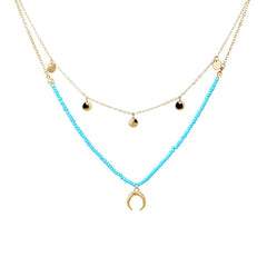 LAYERED CRESCENT NECKLACE- TURQ