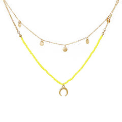 LAYERED CRESCENT NECKLACE- YELLOW