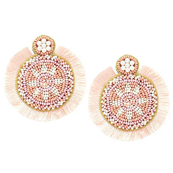 PINK SEED BEAD TASSEL EARRINGS