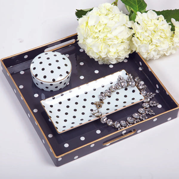 black and white polka dot square tra