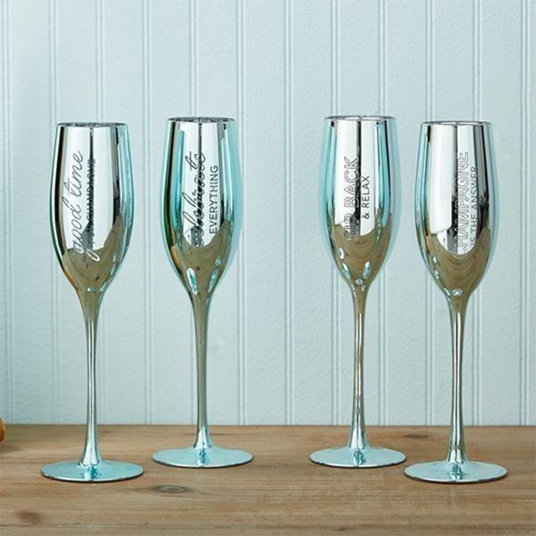 METALLIC CHAMPAGNE FLUTE GOOD TIME