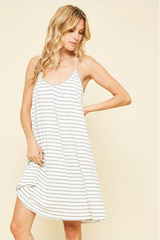 GREY AND WHITE STRIPE DRESS