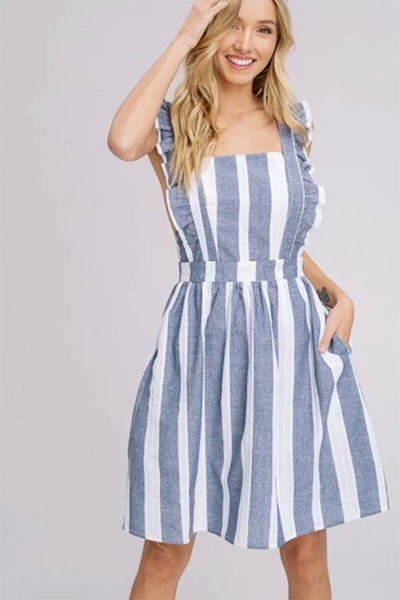 APRON RUFFLE STRIPE DRESS
