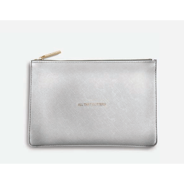 metallic silver clutch is etched in gold