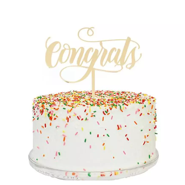 CONGRATS GOLD MIRROR CAKE TOPPER