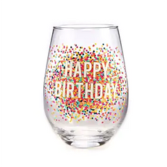 HAPPY BDAY CONFETTI GLASS