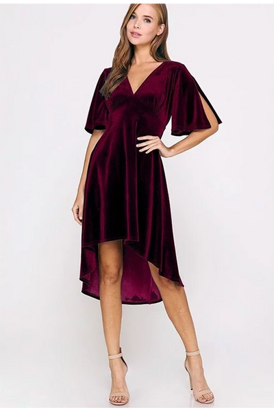 BURGUNDY FLUTTER SLEEVE DRESS