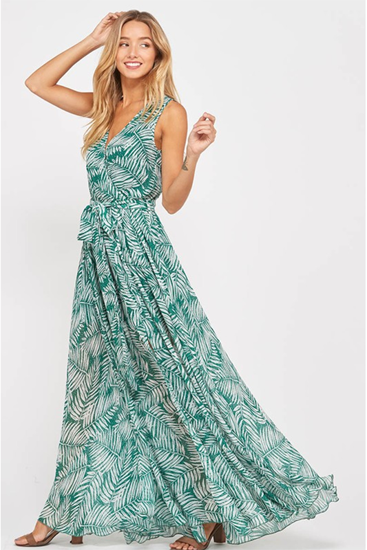 GREEN PRINT CHIFFON MAXI DRESS