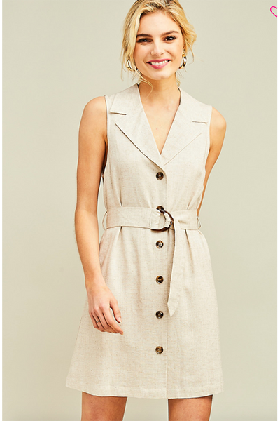 BELTED WOVEN DRESS