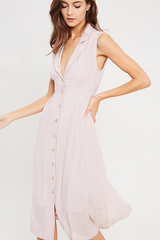 BUTTON FRONT BOW BACK BLUSH DRESS