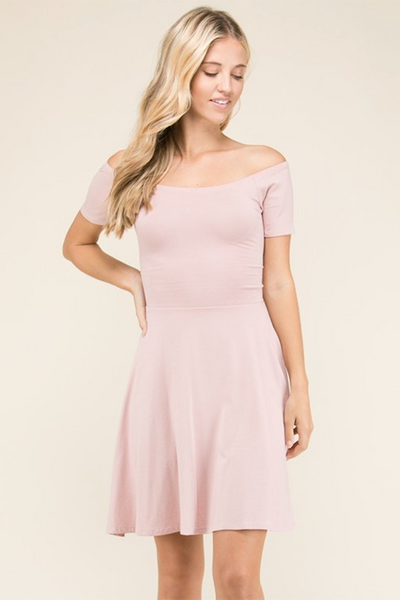 MAUVE CROSS BACK SKATER DRESS