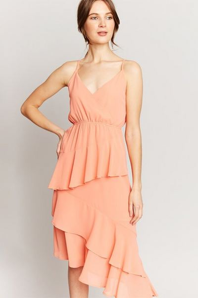 ASYMMETRIC BLUSH RUFFLE DRESS