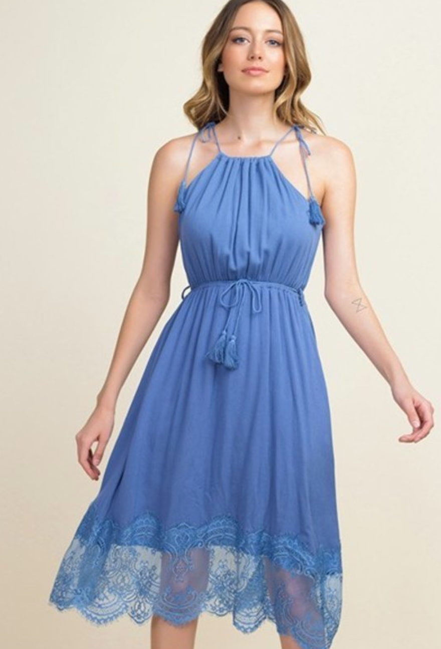 DUSTY BLUE LACE BOTTOM DRESS