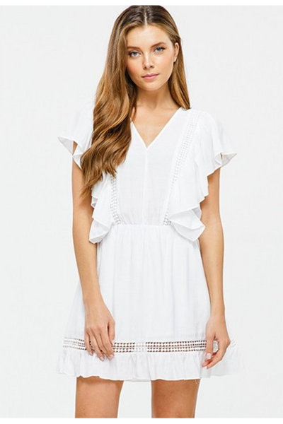 IVORY RUFFLE MINI DRESS