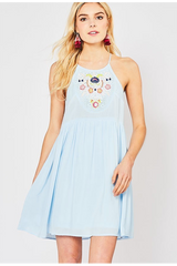 LIGHT BLUE HIGH NECK DRESS